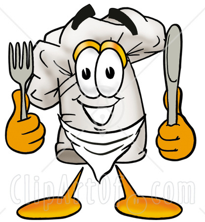 9049-Clipart-Picture-Of-A-Chefs-Hat-Mascot-Cartoon-Character-Holding-A-Knife-And-Fork