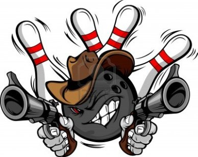 18251537-bowling-ball-cartoon-face-with-cowboy-hat-holding-and-aiming-guns-with-bowling-pins-behind-him